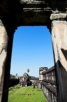 View through stone doorway of Angkor Wat, Cambodia