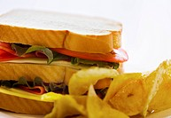 Close_up of sandwich and potato chips