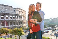 Couple at the roman Colosseum Rome Italy