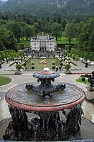 Schloss Linderhof Palace, park, fountain, Royal Castle of Ludwig II, Ettal municipality, Upper Bavaria, Bavaria, southern Germany, Germany, Europe
