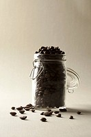 A jar of coffee beans