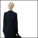 Businesswoman with head on backwards