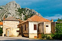Medieval Pirate City Omis on the River Bank near Split, Croatia