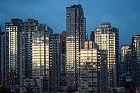 apartment buildings in downtown Vancouver, on the north shore of False Creek, Vancouver, BC, Canada