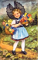 Girl with two baskets of flowers