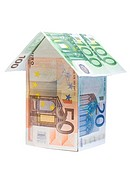 Little house made of Euro banknotes