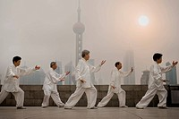 Group doing tai chi outdoors with city skyline in background