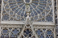 cathedral stained glass window of Rouen in Normandy