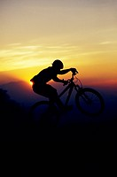 Profile of mountain biker at sunset