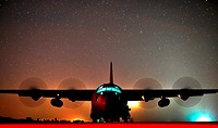 A C-130J Hercules assigned to Little Rock Air Force Base, Ark , performs an engine-running offload at Geronimo Landing Zone on Fort Polk, La , Oct 17,...