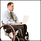 Man in wheelchair with laptop