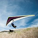 USA, Utah, Lehi, man taking off in hang_glider