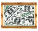 Picture in the old golden frame _ money _ dollars