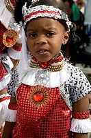 Child in carnival costume. Portrait of little girl. Notting Hill Carnival. Notting Hill. London. England. UK.