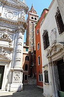 San Moises church and Bauer hotel, Venice, Veneto, Venetia, Italy