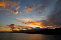 Sunset over the volcano Mount Etna in Sicily, Italy, viewed from Taormina to the North East