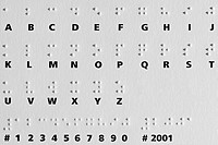 Shadows from raised dots on a card with the Braille alphabet. The Braille system is widely used by blind people to read and write. It was constructed ...