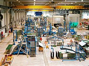An Airbus factory with an assembly line for aircraft components.