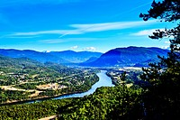 Columbia River snaking through Castlegar, British Columbia, Canada