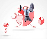 Businessman jumping against a graphic pie chart