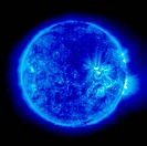 An image of the Sun taken by the Extreme ultraviolet Imaging Telescope EIT of the Solar and Heliospheric Observatory SOHO at 171 angstroms shows loops...