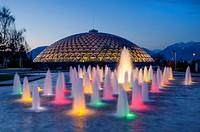Bloedel Conservatory, fountain, Queen Elizabeth Park, Vancouver British Columbia, Canada