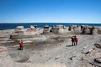 Tourists, Mingan Archipelago National Park, Reserve de Parc National de L´Archipel de Mingan, Duplessis, Northshore St Lawrence, Cote Nord, Quebec, Ca...