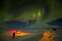 Aurora Borealis, near Tombstone Mountain Lookout, Dempster Highway, Yukon, Canada, Spring, northern lights