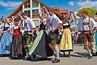 Traditional Maibaumfest in Putzbrunn in Southern Bavaria, Germany, near Munich.