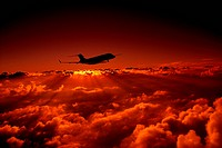 Silhouette of a State of the Art Long Range Corporate Jet at Sunset