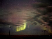 Green and Pink Auroral Curtains