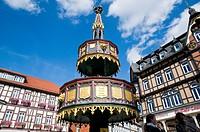 Fountain, hotel Weisser Hirsch, White Stag, Wernigerode, Harz, Saxony_Anhalt, Germany