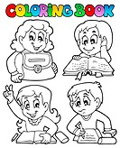 Coloring book school topic 4 _ picture illustration.