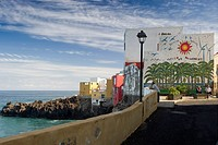 Houses on the waterfront, Puerto de la Cruz, Tenerife, Canary Islands, Spain, Europe