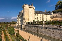 Villandry castle in the sunlight, Villandry, Indre_et_Loire, France, Europe