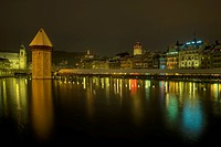 Kapell bridge with water tower at night, Lucerne, Switzerland