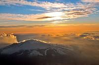 Volcano Etna from plane, eastcoast, Sicily, Italy