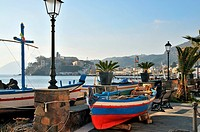 Seapromenade in Lipari, Island of Lipari, Aeolian Islands, Sicily, Italy