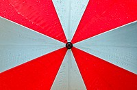 red umbrella and water drops