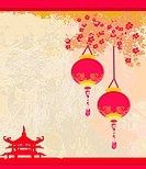 old paper with Asian Landscape and Chinese Lanterns _ vintage japanese style background