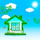 Funny Green House  Abstract eco backgrounds for your design