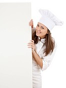 woman chef showing blank sign