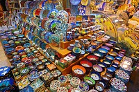 Ceramic display in the Egyptian Bazaar Istanbul next to a spice shop