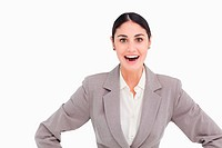 Young businesswoman looking positive surprised
