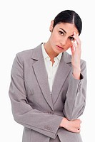 Young tradeswoman looking sad