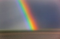 Rainbow off Weybourne Norfolk in rain storm