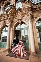 People in historical costume, Zwinger Palace, Dresden, Saxony, Germany, Europe.
