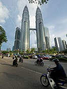 Traffic below Petronas Twin Towers, Kuala Lumpur