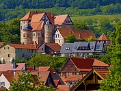 Castle in Kuehndorf at the foot of Dolmar mountain, Thuringia, Germany