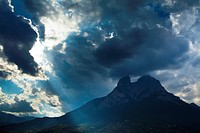 Spain, Catalonia, Pyrenees, Pedraforca  The Pedraforca Mountain in the heart of the Cadí-Moixeró Natural Park